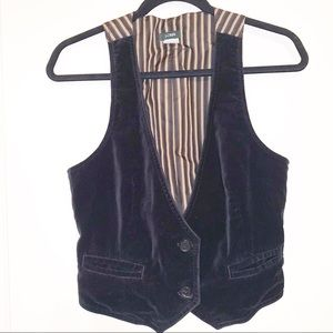 J. Crew Black Velvet Vest Size 8 Adjustable